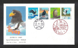Japan FDC 1999.07.23 Birds In Hokkaido(Hokkaido Prefecture) - FDC