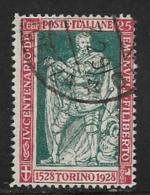 Italy Scott # 202a Used Philbert , Perf 13 1/2, 1928, CV$52.50 - 1900-44 Vittorio Emanuele III