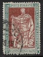 Italy Scott # 203b Used Philbert , Perf 13 1/2, 1928, CV$35.00 - 1900-44 Vittorio Emanuele III