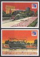1999 Ghana  Trains Railways  Complete Set Of 2 Souvenir Sheets MNH - Ghana (1957-...)