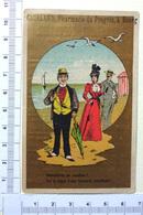 CHROMO DORÉE  ..BOURG...PHARMACIE DU PROGRÈS....LA TISANE DE SANTE...SUPERSTITION....A LA PLAGE - Trade Cards