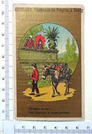 CHROMO DORÉE  ..BOURG...PHARMACIE DU PROGRÈS....LA TISANE DE SANTE...SUPERSTITION...UN ÂNE CHARGE DE TONNEAUX - Trade Cards