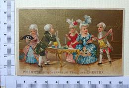 CHROMO DORÉE  LITH. CHAMPENOIS ..MELROSE ....REGENERATEUR DE CHEVEUX....ÉLÉGANTES AUX RUBANS - Trade Cards