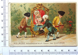 CHROMO DORÉE  LITH. CHAMPENOIS ..MELROSE ....REGENERATEUR DE CHEVEUX....ÉLÉGANTE DANS UNE CHAISE A PORTEURS - Trade Cards