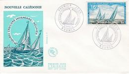 FDC PREMIER JOUR 373 3eme Course Croisiere Whangarel Nouméa 27-04-1971  Nouvelle-Calédonie - FDC
