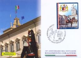 Italia 2018 FDC Maximum Card 150° Anniversario Del Reggimento Corazzieri Dell'Arma Dei Carabinieri - Militaria