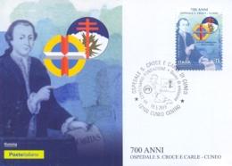 Italia 2019 FDC Maximum Card 700 Anni Dell'Ospedale S. Croce E Carle Di Cuneo - Medicina