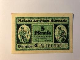 Allemagne Notgeld Lubeck 5 Pfennig - Collections