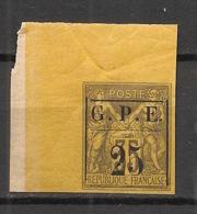 Guadeloupe - 1884 - N°Yv. 2 - 25 Sur 35c Violet Sur Jaune - Coin De Feuille - Neuf * / MH VF - Nuevos