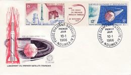 FDC PREMIER JOUR PA85A Lancement Premier Satellite 10-01-1966  Nouvelle-Calédonie - FDC