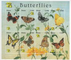 1999 Ghana  Butterflies Papillons Complete Set Of 4 Sheets MNH - Ghana (1957-...)