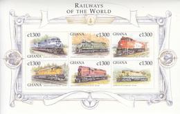 1999 Ghana  Railways Trains Locomotives Complete Set Of 4 Sheets MNH - Ghana (1957-...)