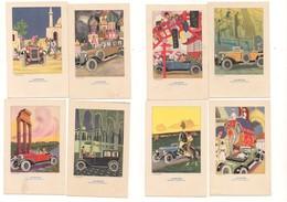 P80 ILLUSTRATORI Nanni Pubblicitaria Lampo Benzina Automobile Serie 8 Cartoline Non Viaggiate - Nanni