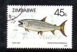 APR478 - ZIMBABWE 1989 ,  Yvert N. 89  Usato  (2380A) Fish - Zimbabwe (1980-...)