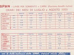 ESTATE 1959 ORARIO LINEA DI NAVIGAZIONE SPAN NAPOLI PROCIDA ISCHIA CAPRI ECC. - Europa