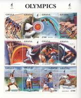 1995 Ghana  Atlanta Olympics Cycling Horses Tennis Football  Complete Set Of 3 Sheets MNH - Ghana (1957-...)