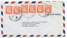 New Zealand 1956 Airmail Cover Christchurch To Ann Arbor Michigan, Scott 292 X 6 - New Zealand