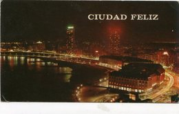 MAR DEL PLATA - VISTA AEREA NOCTURNA. ARGENTINA TARJETA POSTAL CIRCULADO 1977 -LILHU - Argentina