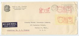 Canada 1958 Airmail Cover Vancouver, British Columbia To Boston MA, 2 Meters - 1952-.... Reign Of Elizabeth II