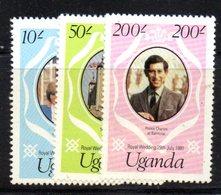 APR1490 - UGANDA OUGANDA 1981 ,  Yvert  258/260  ***  MNH (2380A) . Diana - Uganda (1962-...)
