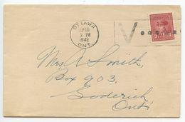 Canada 1942 Cover Ottawa To Goderich, Ontario, V Slogan Cancel - 1937-1952 Reign Of George VI