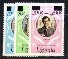 APR1491 - UGANDA OUGANDA 1981 ,  Yvert  258a/260a  ***  MNH (2380A) . Diana - Uganda (1962-...)