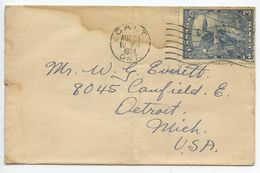 Canada 1934 Cover Galt Ontario To Detroit Michigan, Scott 208 Landing Of Jacques Cartier - Covers & Documents
