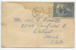 Canada 1934 Cover Galt Ontario To Detroit Michigan, Scott 208 Landing Of Jacques Cartier - 1911-1935 Règne De George V