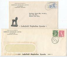 Canada 1955-56 2 Covers Lakefield Ontario To Elmira New York, Duplex Postmarks - 1952-.... Reign Of Elizabeth II