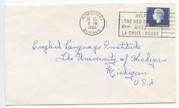 Canada 1966 Cover Rimouski Quebec To Ann Arbor Michigan, Red Cross Slogan Cancel - 1952-.... Reign Of Elizabeth II