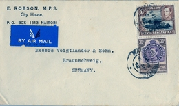 1952 , UGANDA , KENYA & TANGANYIKA , SOBRE CIRCULADO , NAIROBI - BRAUNSCHWEIG , CORREO AÉREO - Kenya, Ouganda & Tanganyika