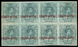 ** 292s. Medallón Aéreo. 5 Cts. Bloque De 8 Con Sobrecarga Ligeramente Desplazada A La Izquierda. - Unused Stamps
