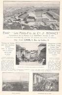 Ets Les Petits Fils De Cde Jh  Bonnet Pont D' Ain Varambon Priay  Jujurieux  1922 - Publicités
