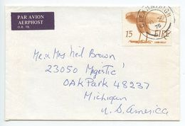 Ireland 1975 Airmail Cover Gleanntaigh To Oak Park MI, Scott 373 Bird Of Prey - Covers & Documents