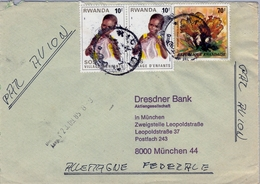 1985 , RWANDA , SOBRE CIRCULADO , KIGALI - MÜNICH , CORREO AÉREO , FR. SOS VILLAGE D'ENFANTS - Correo Aéreo