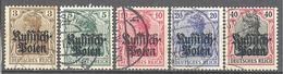 Pologne Occupation Allemande: Yvert N° 1/5°;  Cote 5.00€ ° - Besetzungen 1914-18