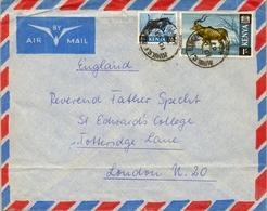 1967 KENYA / KENIA , SOBRE CIRCULADO , KIMILILI - LONDRES , FR. TEMA FAUNA , MAMÍFEROS , WARTHOG , GREAT KUDU - Kenya (1963-...)