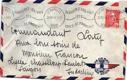 FRANCE - LETTRE 1950 - MARIANNE DE GANDON 15f - ST RAPHAEL VAR  POUR SAÏGON  INDOCHINE  /1 - Postmark Collection (Covers)
