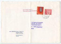 Switzerland 1982 Cover Tamins To Wiesbaden Germany, Postage Due Handstamp - Switzerland
