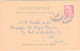 FRANCE - CP 12.2.1948 - CHEMIN DE FER DU MIDI CARCASSONNE  /1 - Marcophilie (Lettres)