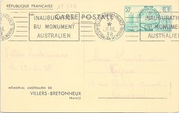 FRANCE - CP AUSTRALIAN MEMORIAL VILLERS-BRETONNEUX 22.7.1938   /1 - Marcofilia (sobres)