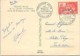 FRANCE - CP CACHET PREMIER JOUR ANNIVERSAIRE DISTRIBUTION LEGION D'HONNEUR 14.8.1954 BOULOGNE-SUR-MER - Yv N° 997 /1 - Marcophilie (Lettres)
