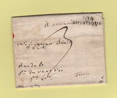 Mondovi - 105 - 1808 - Marque D Arrivee May De Turin - Departement Conquis De La Stura - Marcofilia (sobres)
