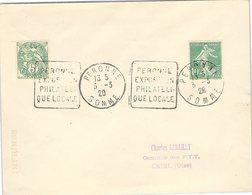 FRANCE - LETTRE -   PERONNE SOMME 3.3.1929 - DAGUIN PERONNE EXPOSITION PHILATELIQUE LOCALE  /1 - Postmark Collection (Covers)