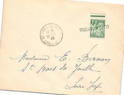 FRANCE - LETTRE DEPART GRIFFE TROUAN LE PETIT AUBE - CACHET ARRIVEE ST MARS LA JAILLE 19.8.40   /1 - Postmark Collection (Covers)