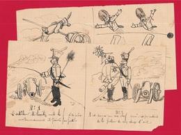 En L'état Dessin D'Amateur En 4 Figures - Un Artilleur ** Humour Naïf Militaire Militaria Artillerie Canon - Autres Collections