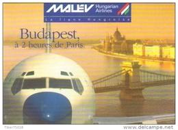 """Carte Postale édition """"Dix Et Demi Quinze"""" - Malev Hungarian Airlines - Budapest à 2 Heures De Paris (avion) - Avions"""