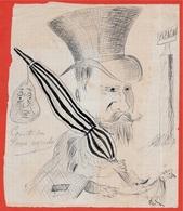 En L'état Dessin Caricature D'Amateur LE COMTE De PARIS Expulsé - Autres Collections