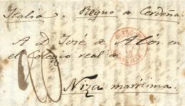 """D.P. 5. 1849. Carta De Barcelona A Niza(Italia). Fechador """"Outremer/Marseille"""" En Rojo. - Spanje"""