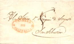 D.P. 10. 1840. Carta De Azpeitía A San Sebastián. Marca De Vergara En Rojo. Muy Rara. - ...-1850 Vorphilatelie